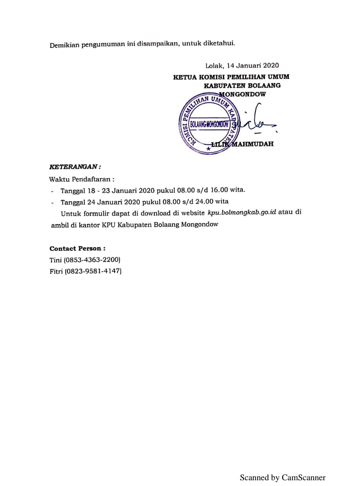 KPU Bolmong Umumkan Rekrutmen PPK untuk Pilgub 2020, Ini Persyaratannya Bolmong Headline Terkini